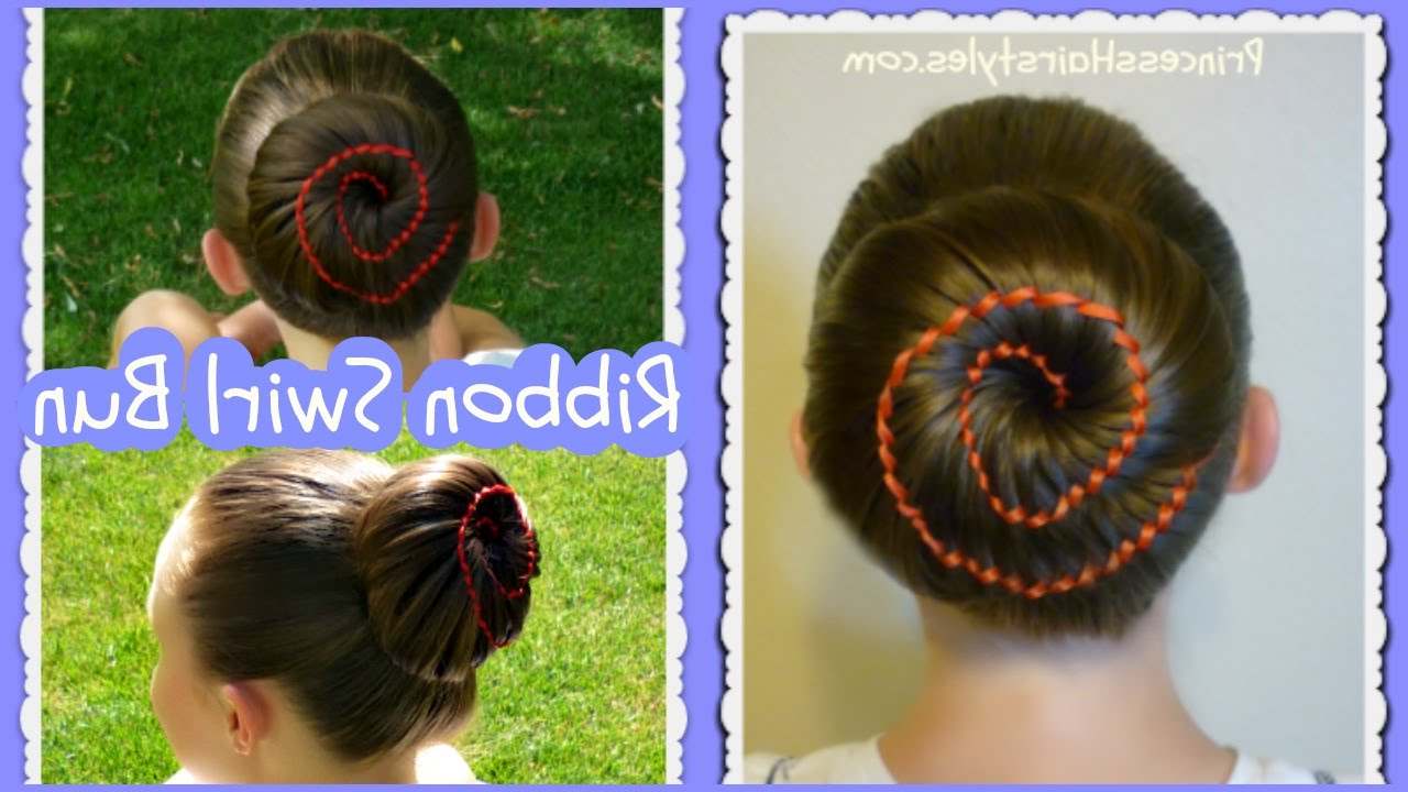 2019 Swirl Bun Updo Hairstyles Pertaining To Ribbon Swirl Bun Hairstyle Tutorial (View 3 of 20)