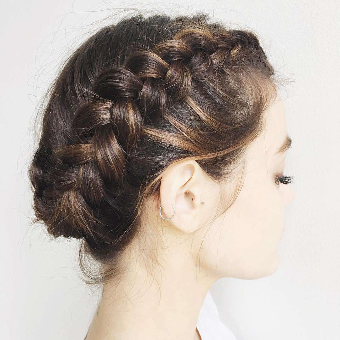 2019 Tight Braided Hairstyles With Headband Throughout 50 Braided Wedding Hairstyles We Love (View 17 of 20)