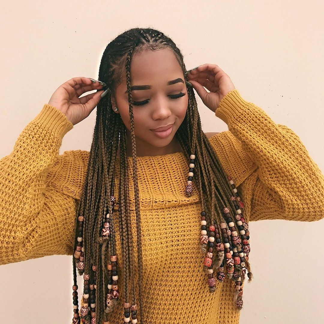 2020 Box Braids And Beads Hairstyles Within The Braids And Beads Trend Is Taking Over Instagram (View 5 of 20)