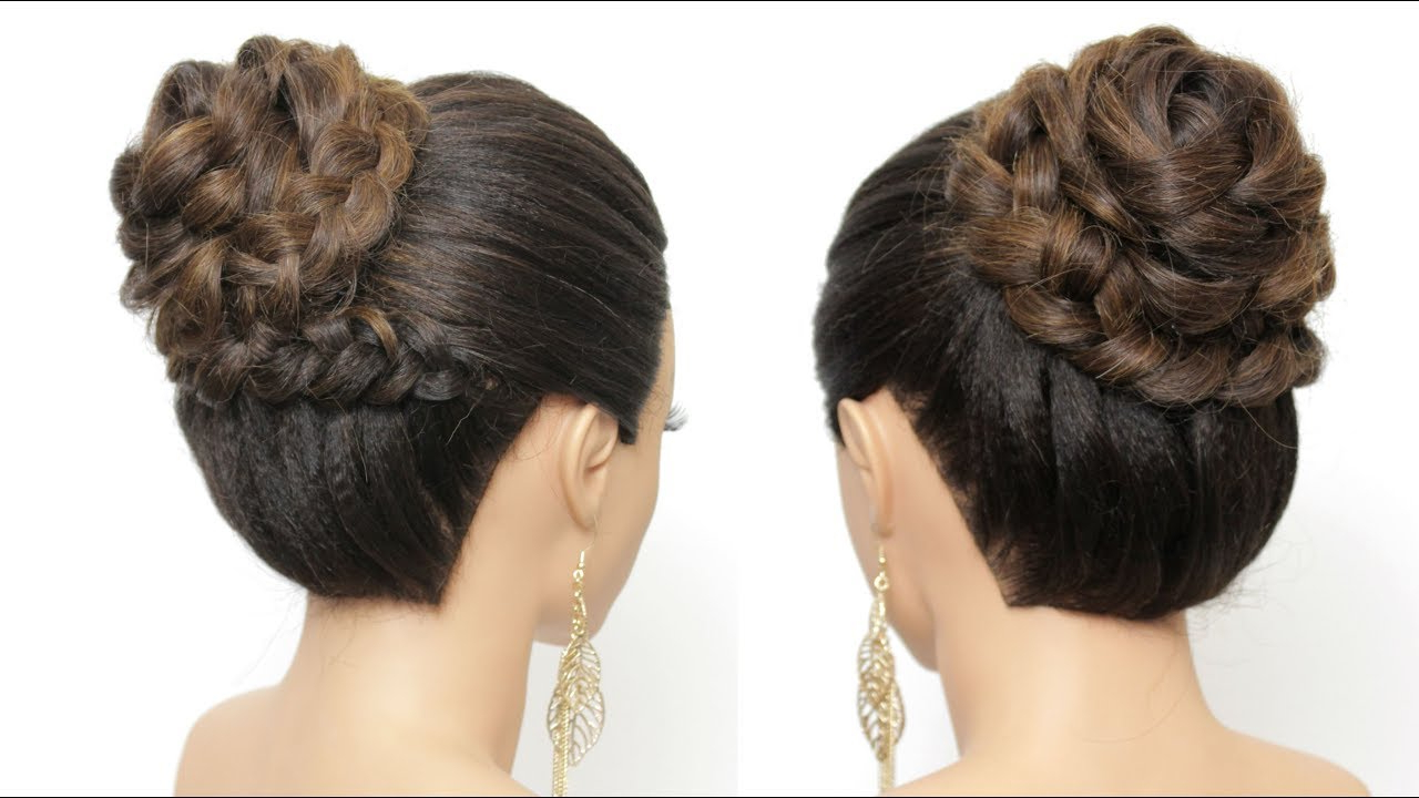 2020 Braid Wrapped High Bun Hairstyles With Regard To Wedding Prom Updo Tutorial. High Braided Bun For Long Hair (View 2 of 20)