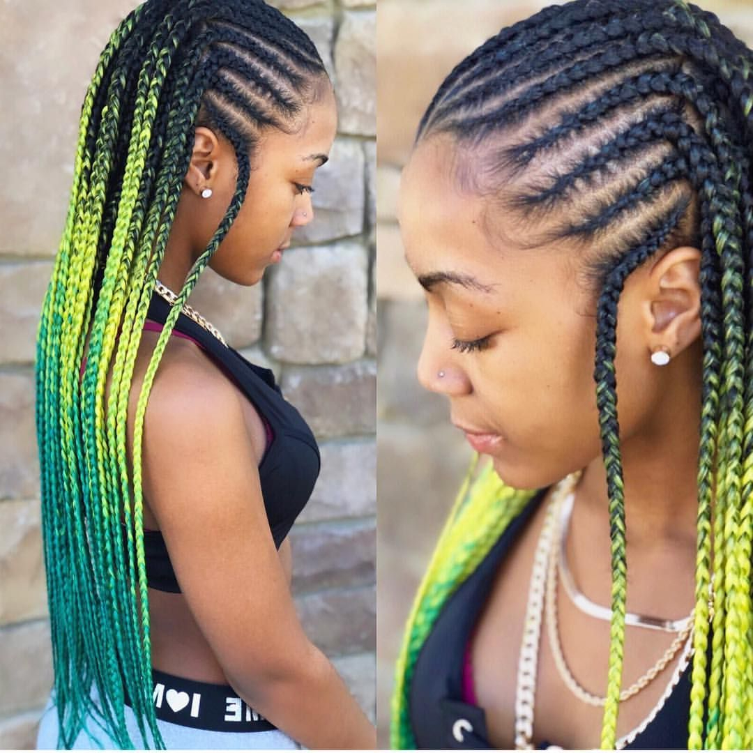 2020 Lemon Tinted Lemonade Braided Hairstyles Throughout Ombré Tribal Braids (View 4 of 20)