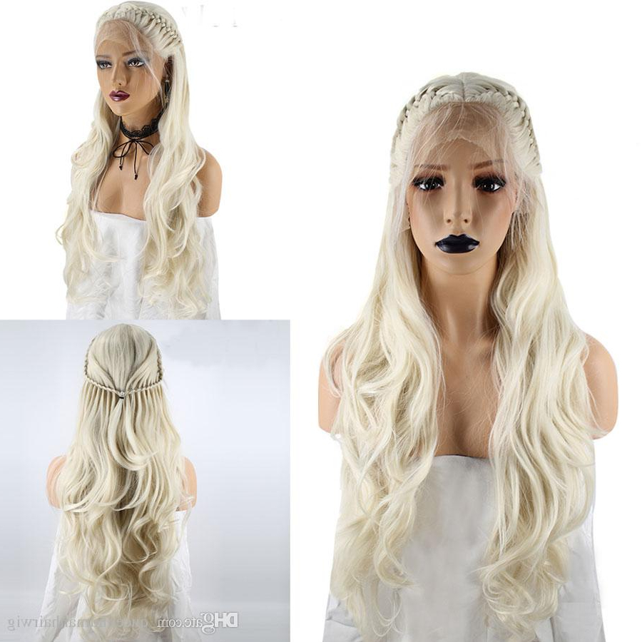 2020 Long Blonde Braid Hairstyles Throughout High Temperature Fiber Platinum Blonde Braided Long Natural Wave Princess Synthetic Lace Front Wig With Baby Hair (View 18 of 20)