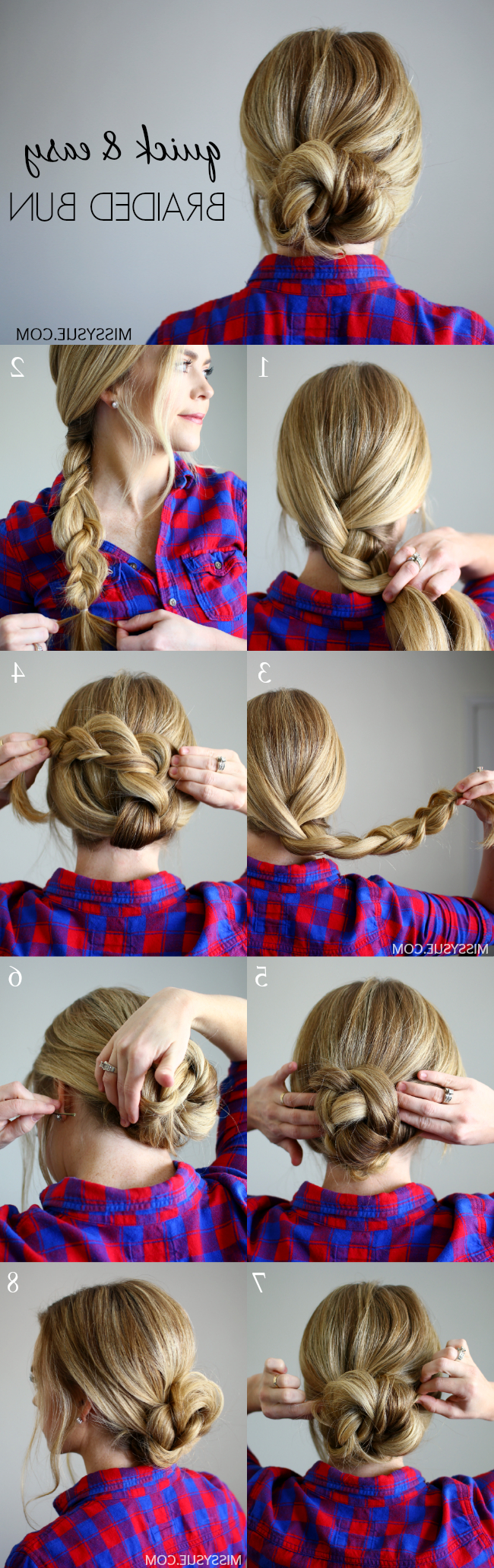 2020 Low Braided Bun Updo Hairstyles In Quick And Easy Braided Bun (View 1 of 20)
