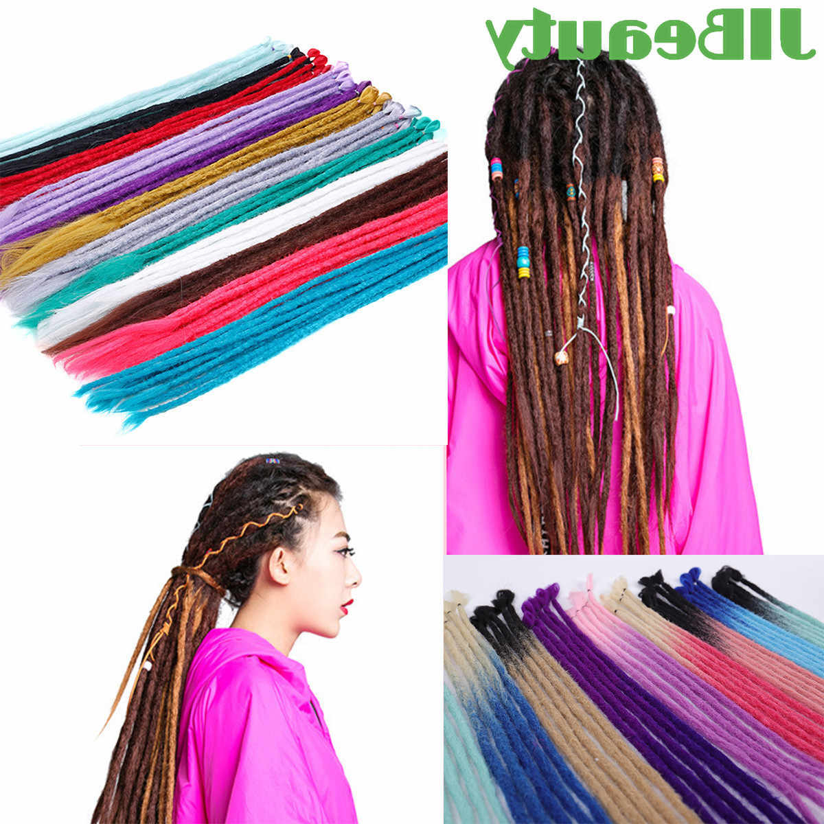 2020 Multicolored Extension Braid Hairstyles With Regard To Qianji Colorful Dreads 20 Inch Handmade Dreadlocks Extensions Fashion Reggae Hip Hop Synthetic Dreads Crochet Braiding Hair (View 20 of 20)