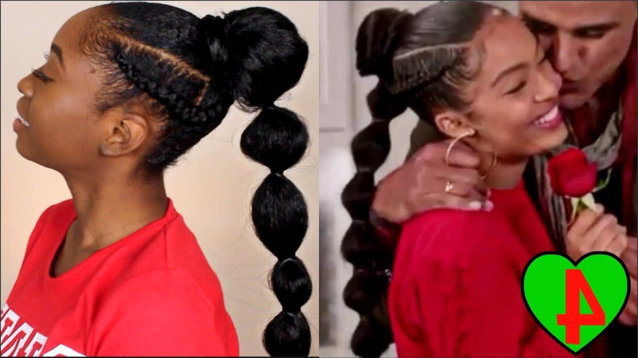 2020 Natural Bubble Ponytail Updo Hairstyles Within Yara Shahidi Grown Ish Braided Bubble Ponytail Tutorial (View 9 of 20)