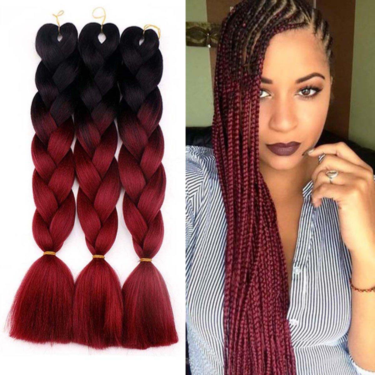 2020 Straight Mini Braids With Ombre Regarding Hot! 1Pcs 24Inches 2 Tone Jumbo Braid Ombre Braiding Hair X Pression Hair  Extensions Afro Box Braids Crochet Hair Synthetic Fiber Braids (View 3 of 20)