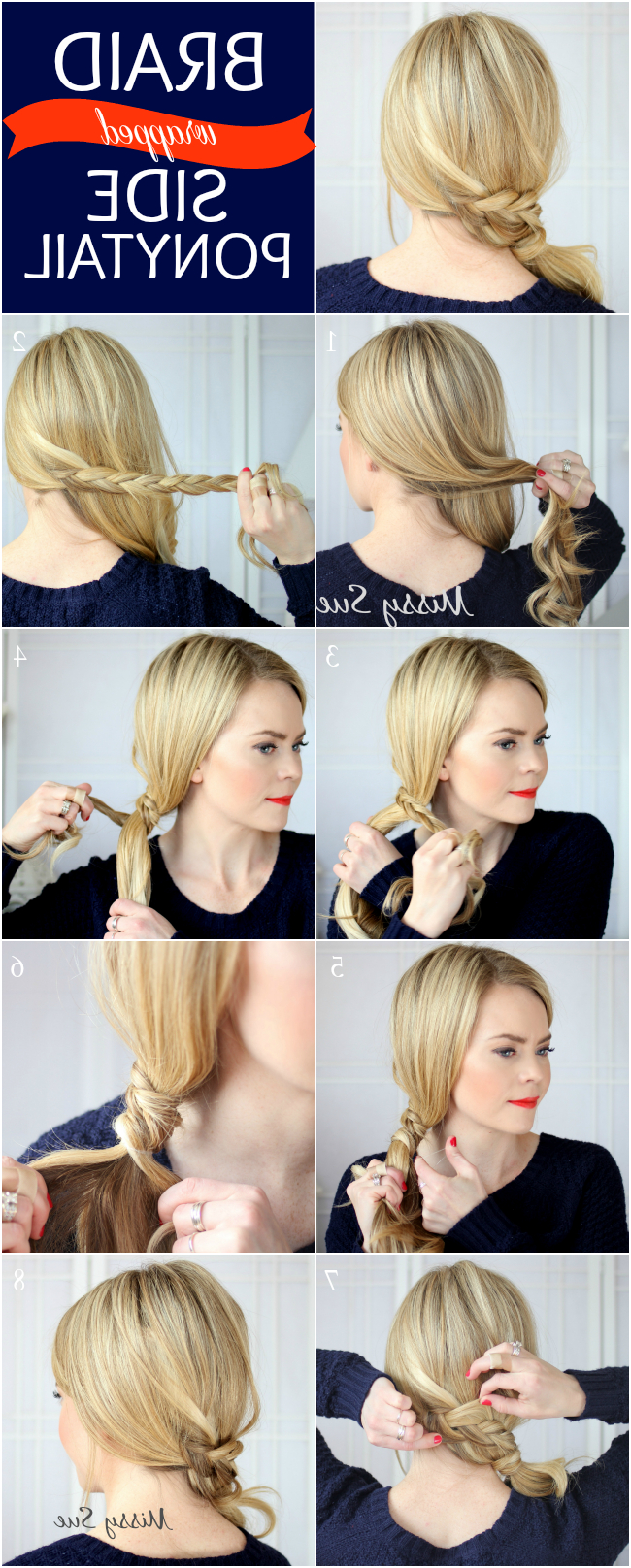 2020 Wrapped Ponytail Braid Hairstyles Within Braid 12 Braid Wrapped Side Ponytail (View 5 of 20)