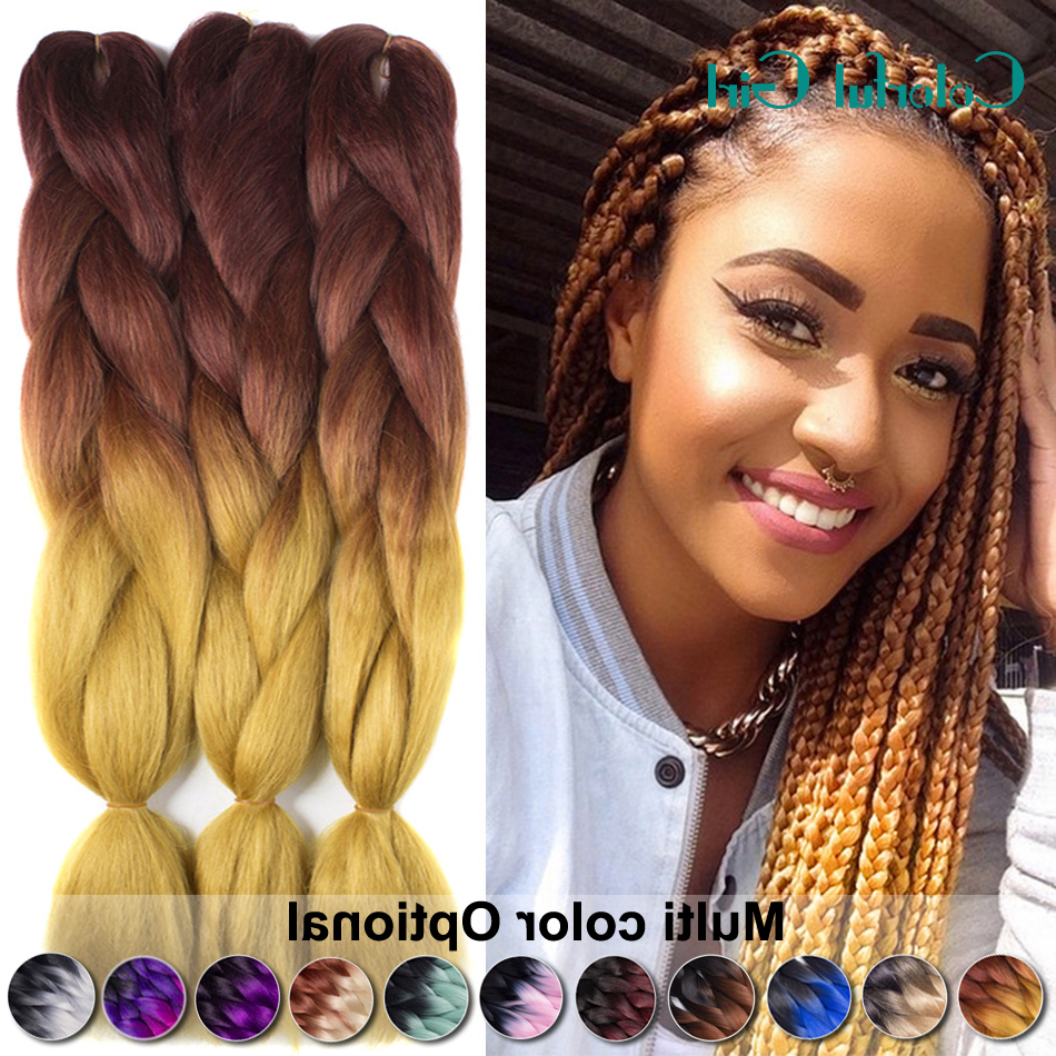 24Inch Crochet Braids 100G/pack Twist Braid Hair Ombre Jumbo With Regard To Most Current Light Brown Braid Hairstyles (View 3 of 20)
