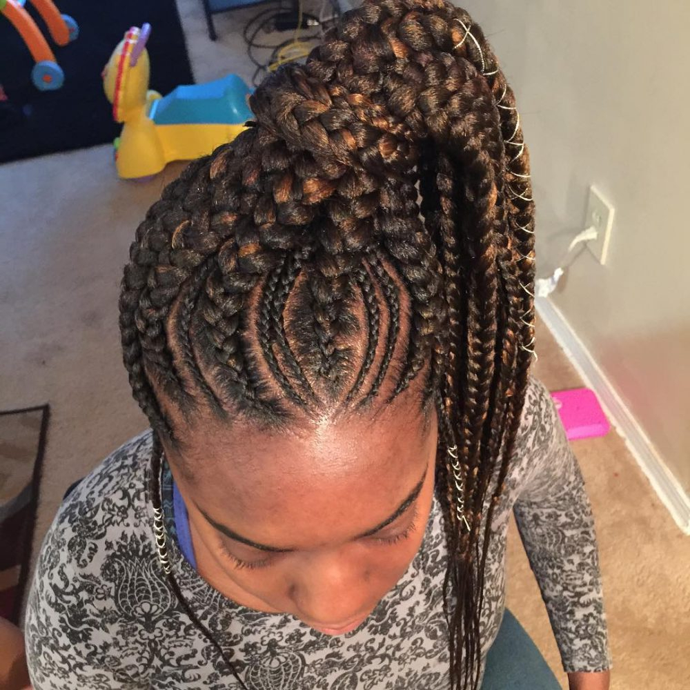 25 African American Hairstyles To Get You Noticed In 2019 Throughout Well Known Angled Cornrows Hairstyles With Braided Parts (View 16 of 20)
