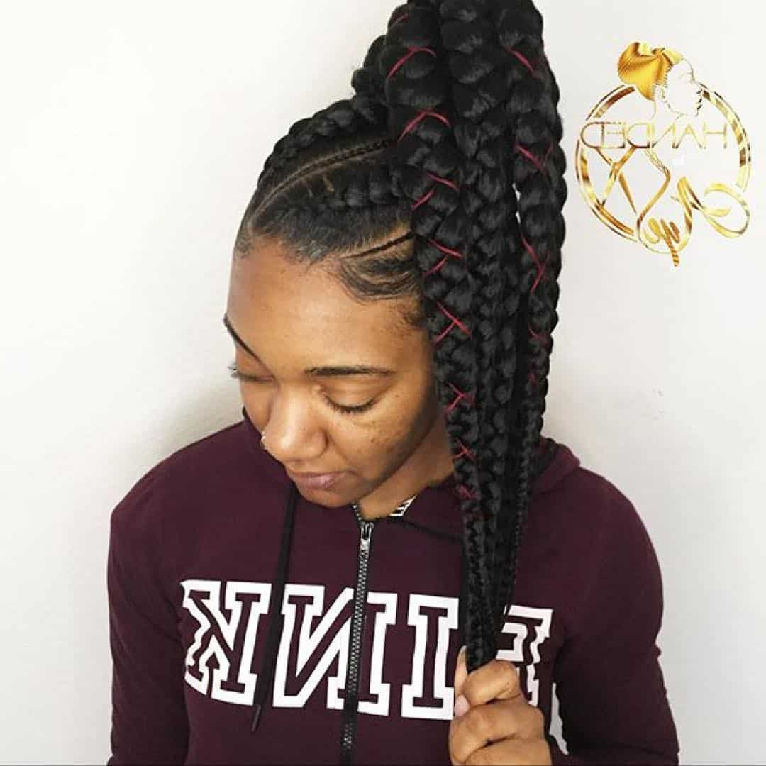 25 Big Box Braids That Will Make You Stand Out Of The Crowd Within 2020 Ponytail Braid Hairstyles With Thin And Thick Cornrows (View 9 of 20)