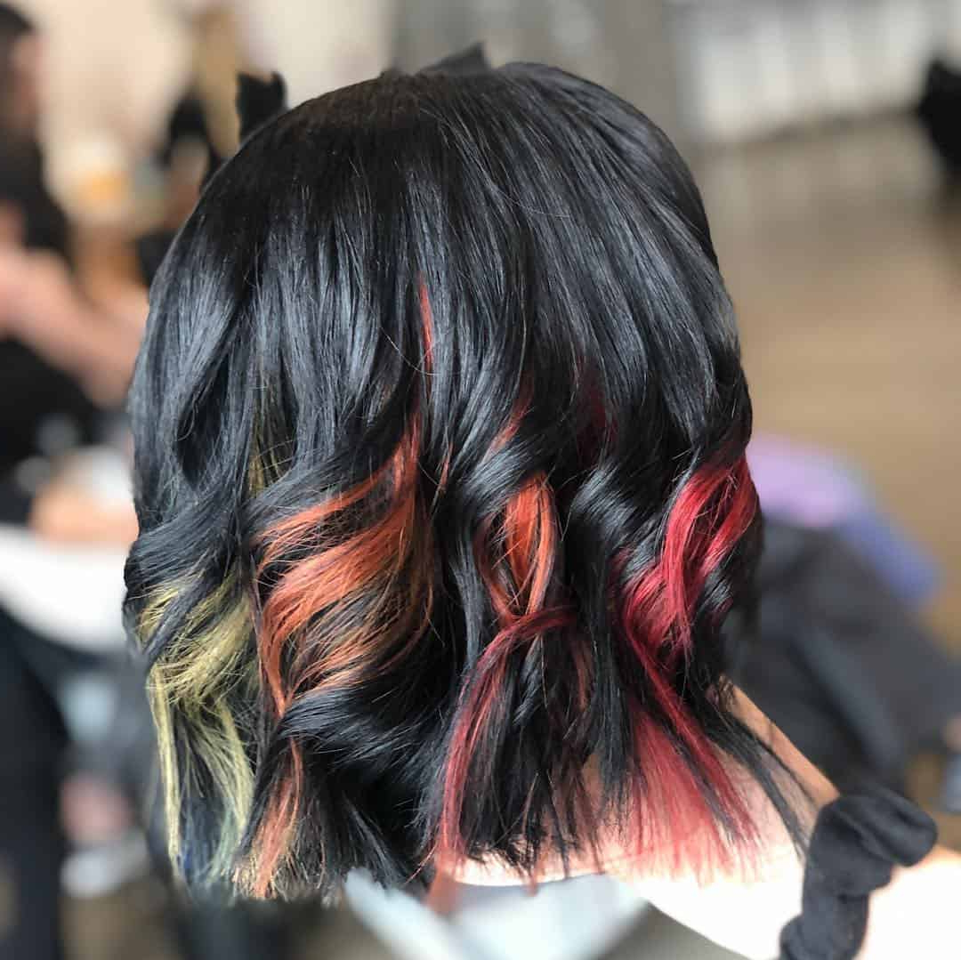 29 Subtle And Popping Peekaboo Highlights Hairstyles Regarding Famous Black Twists Hairstyles With Red And Yellow Peekaboos (View 6 of 20)