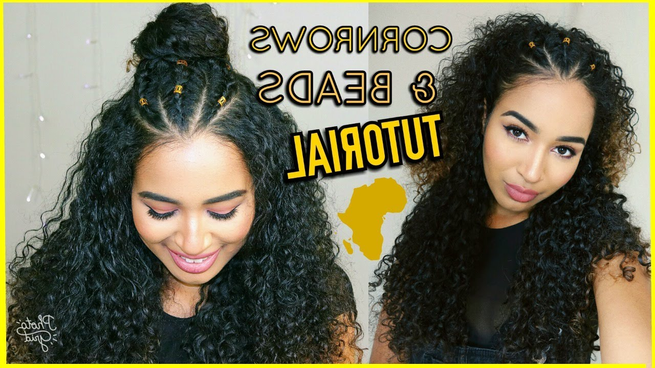 3 Braids/cornrows & Gold Beads Curly Hairstyles Tutorial (Gallery 12 of 20)