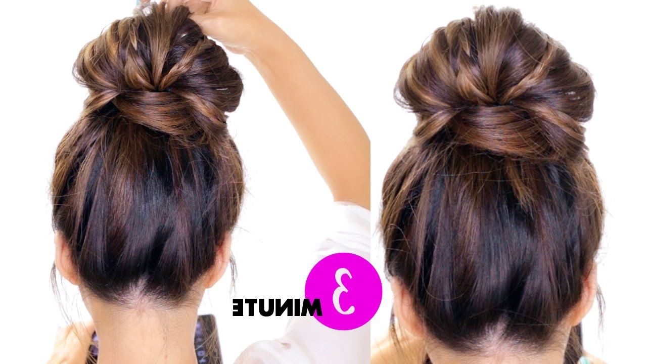 3 Minute Bubble Braid Bun Hairstyle ☆ Easy Holiday Within Well Liked Bubble Pony Updo Hairstyles (View 4 of 20)