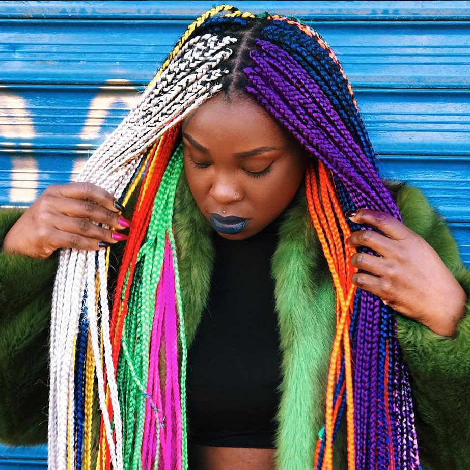 31 Colorful Black Girl Approved Hairstyles Giving Us Spring Inside Most Current Multicolored Extension Braid Hairstyles (View 7 of 20)