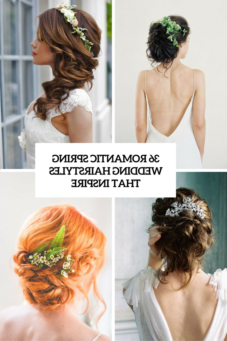 36 Romantic Spring Wedding Hairstyles That Inspire For Famous Romantic Florals Updo Hairstyles (View 4 of 20)