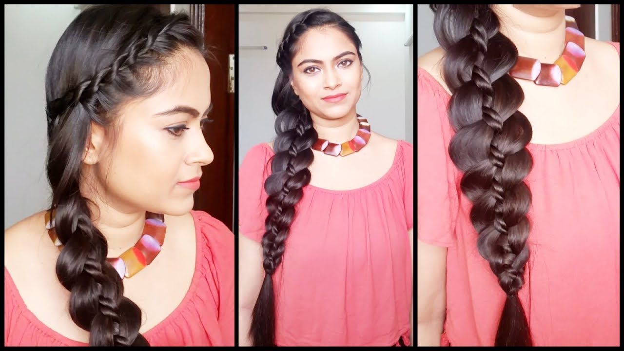 4 Strand Rope Twist Braid // Easy Hairstyles For Medium To Long Hair//indian Hairstyles With 2019 Pink Rope Braided Hairstyles (View 6 of 20)