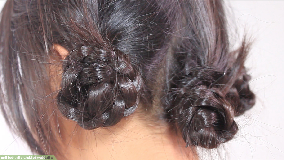 4 Ways To Make A Braided Bun – Wikihow Intended For Most Current Plaited Low Bun Braided Hairstyles (View 14 of 20)