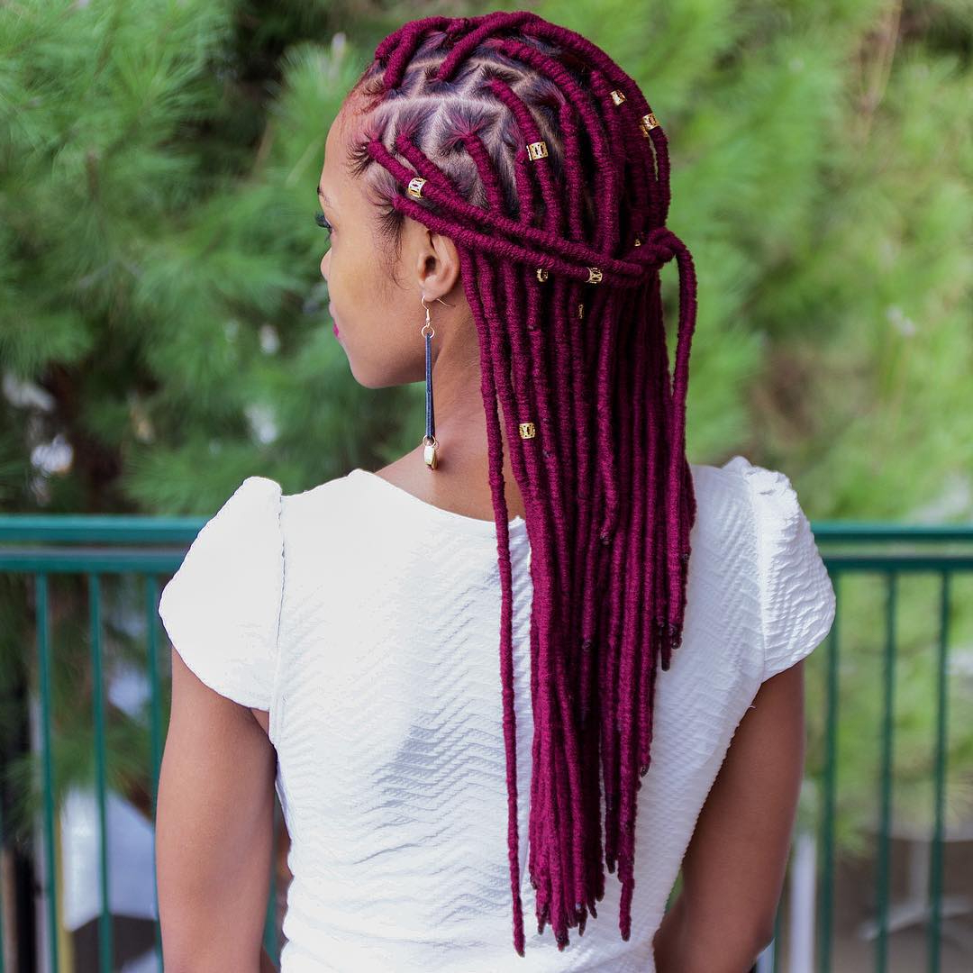 40 Fabulous Funky Ways To Pull Off Faux Locs Within Most Recent Tipped Box Braid Spiral Bun Hairstyles (View 18 of 20)