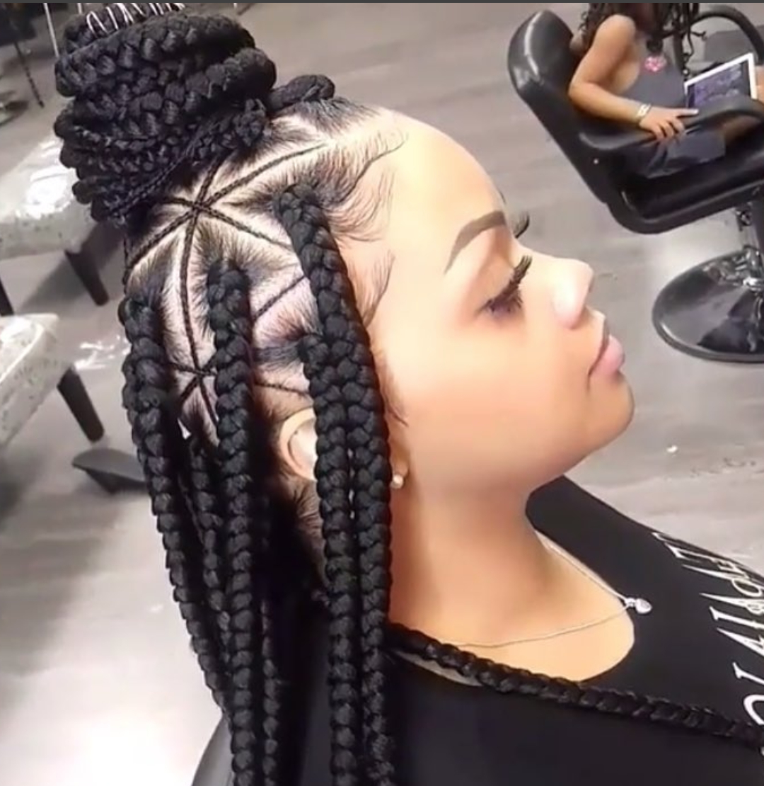 42 Chunky Cool Jumbo Box Braids Styles In Every Length Throughout Newest Geometric Blonde Cornrows Braided Hairstyles (View 18 of 20)