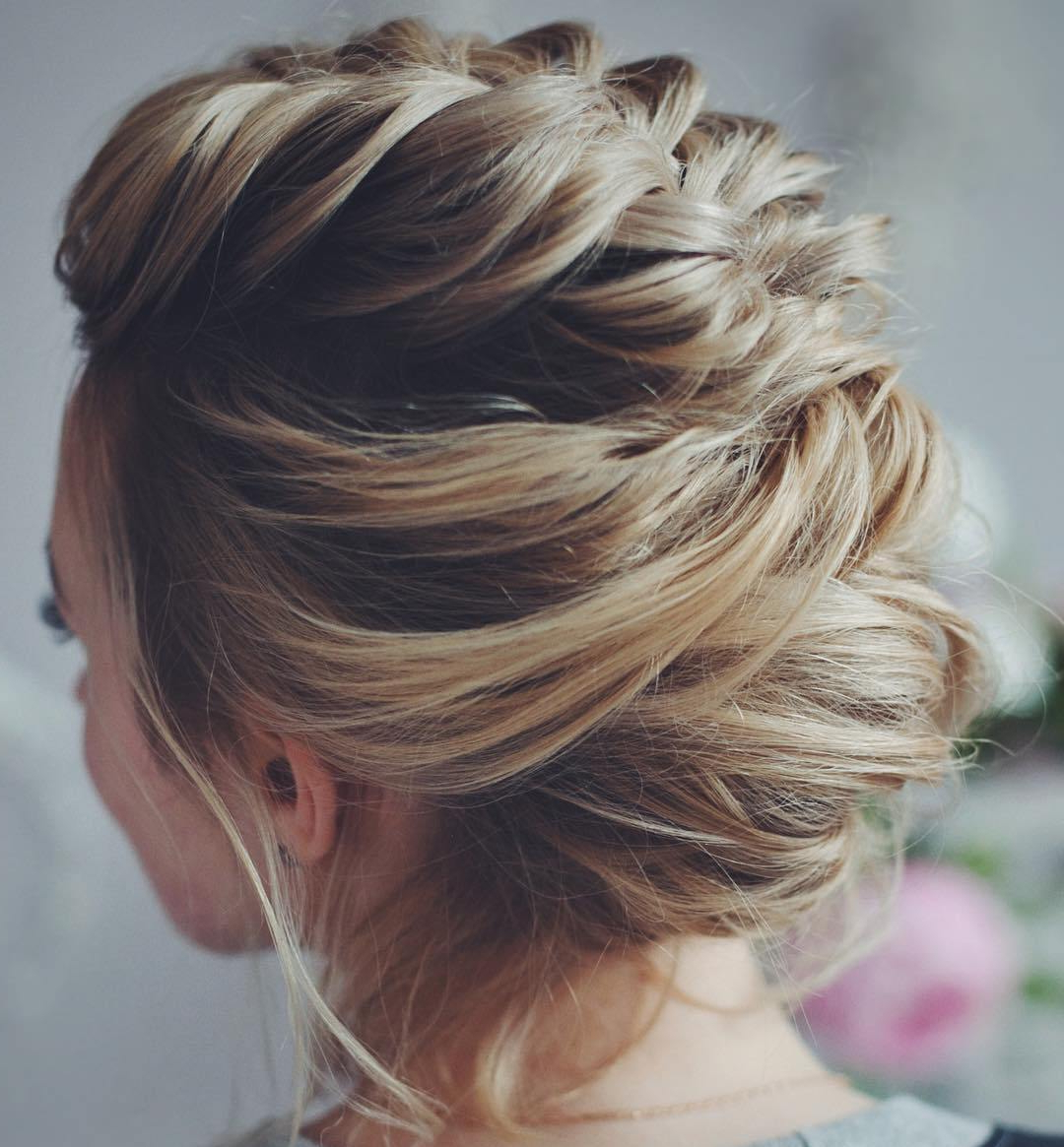 50 Hottest Prom Hairstyles For Short Hair Within Well Liked Brown Woven Updo Braid Hairstyles (View 8 of 20)