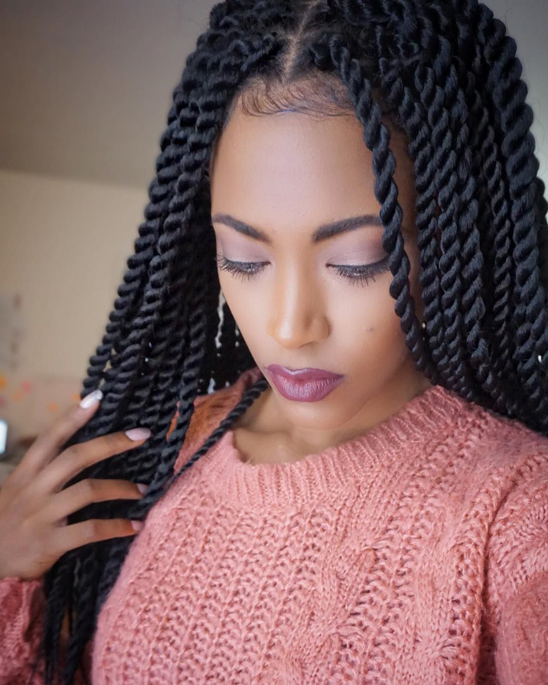 55 Gorgeous Senegalese Twist Styles — Perfection For Natural For 2019 Side Parted Micro Twist Hairstyles (Gallery 4 of 20)