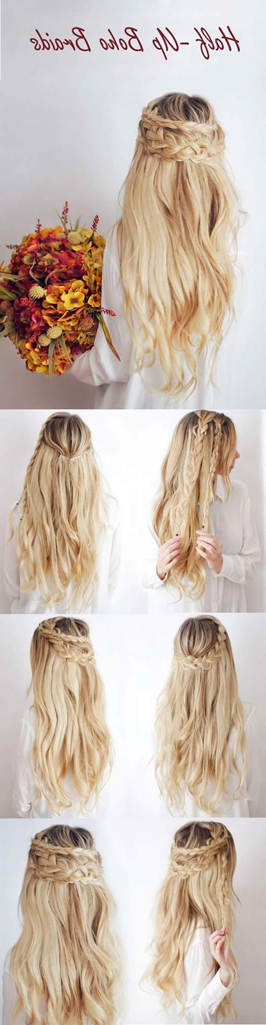 55+ Trendy Head Turning Boho (Bohemian) Hairstyles For All Intended For Fashionable Half Up Half Down Boho Braided Hairstyles (Gallery 15 of 20)