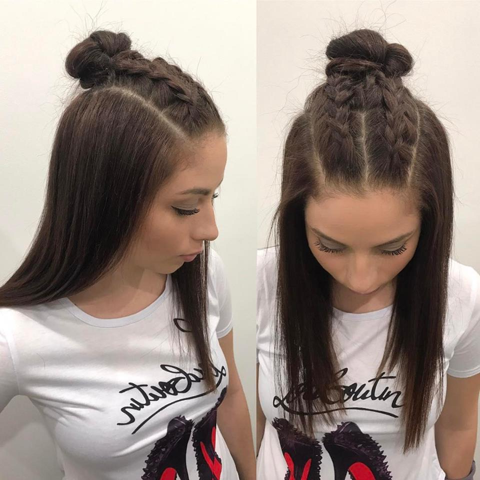 60 Easy And Quick Top Knot Hairstyles To Sport The Celebrity For Favorite Braided Topknot Hairstyles With Beads (View 17 of 20)