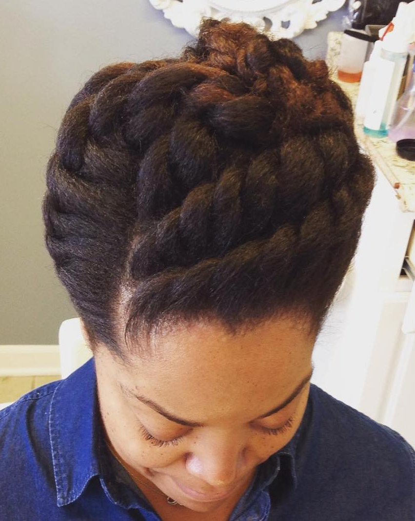 60 Easy And Showy Protective Hairstyles For Natural Hair Pertaining To Popular Forward Braided Hairstyles With Hair Wrap (View 4 of 20)