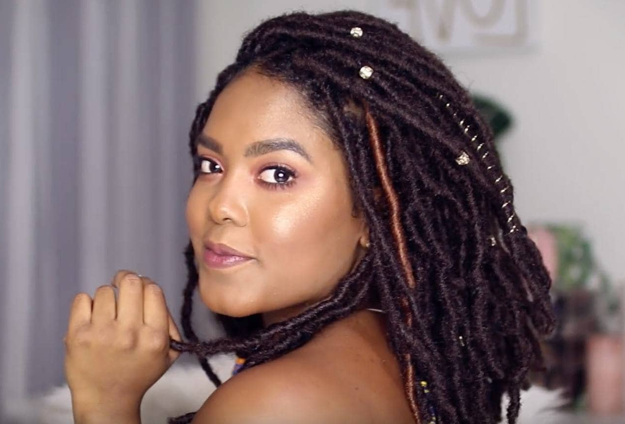 80 Long And Short Faux Locs Styles And How To Install Them Regarding Fashionable Skinny Yarn Braid Hairstyles In A Half Updo (View 4 of 20)