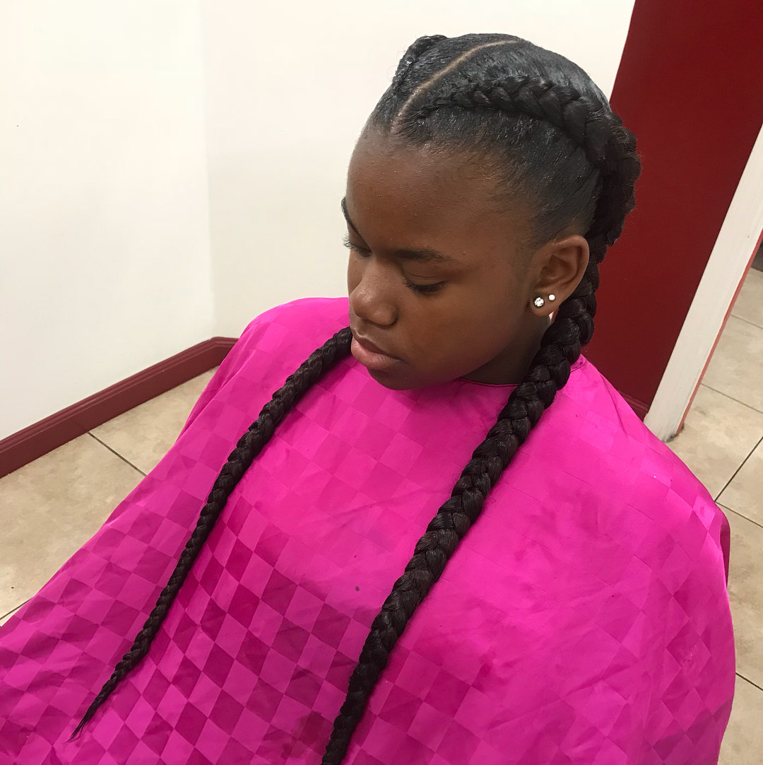 99 Two Braids And You've Got It Made Regarding Well Liked Colorful Cornrows Under Braid Hairstyles (View 4 of 20)