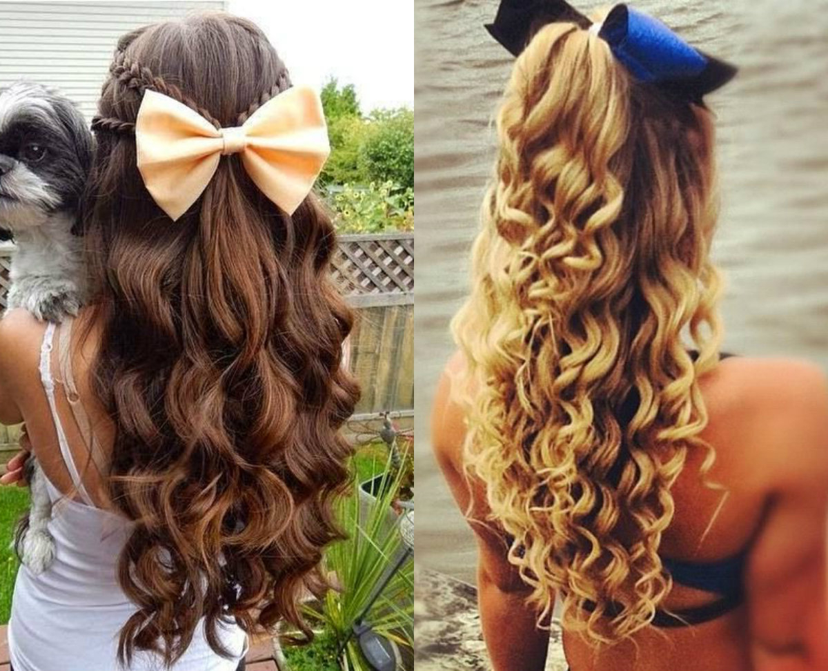 Absolutely Cute Cheer Hairstyles Any Cheerleader Will Love Inside Well Known Curled Half Up Hairstyles (View 11 of 20)