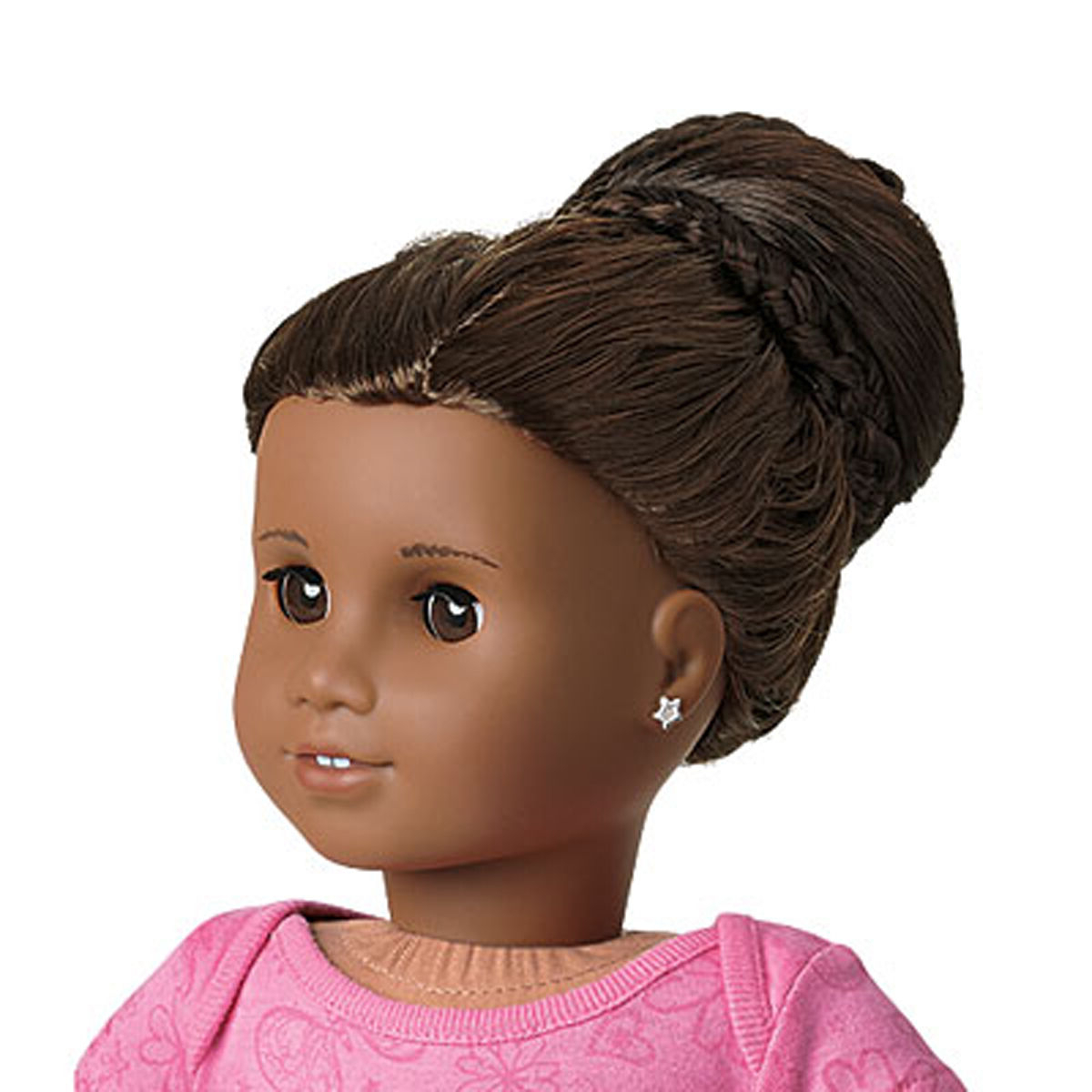 American Girl Chic Dark Brown Bun Doll Hair Extention Updo Crisscross Braids For Well Known Criss Cross Braid Bun Hairstyles (View 3 of 20)