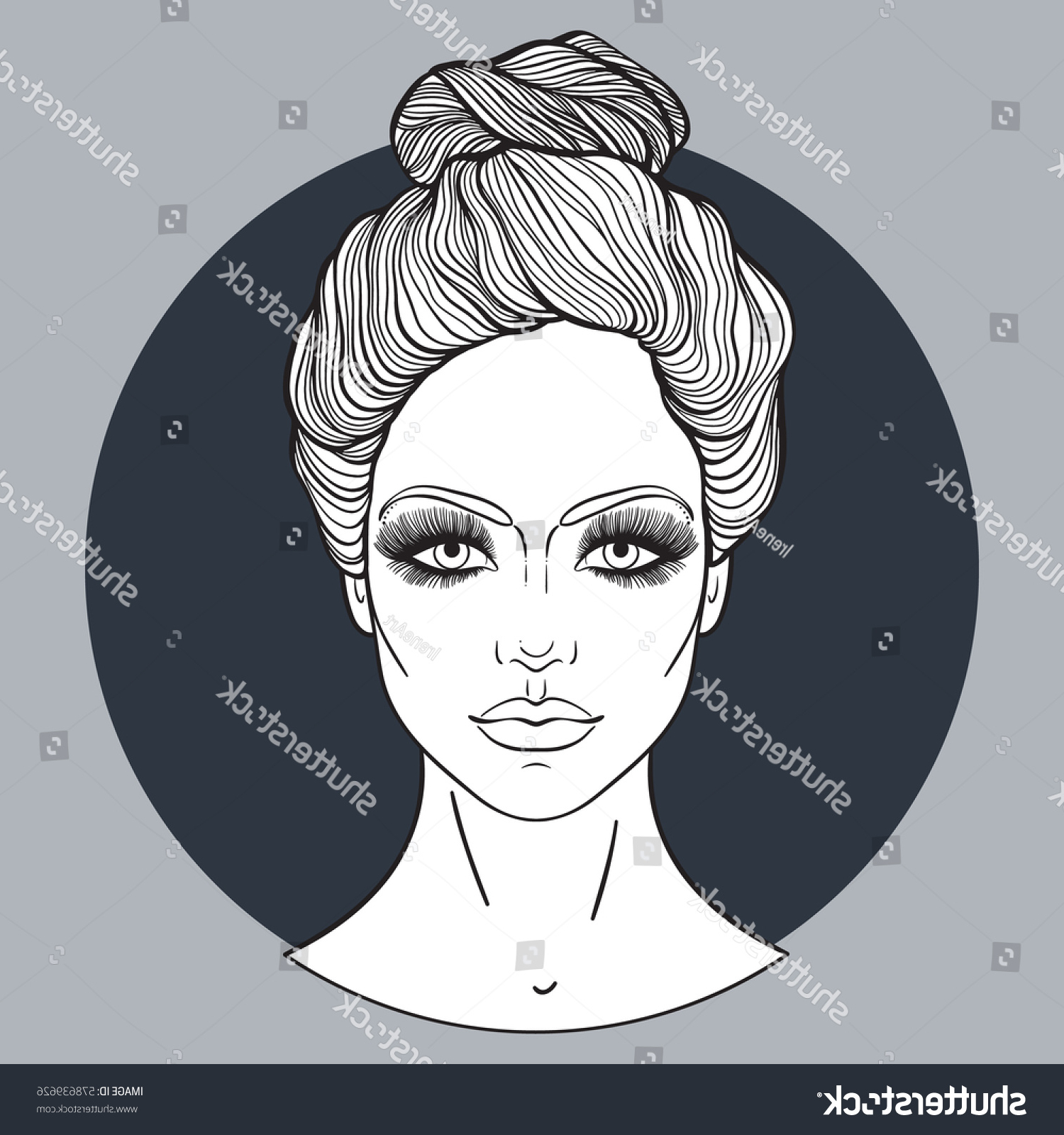 Beautiful Girl Face Top Knot Hair Stock Vector (royalty Free For Most Up To Date Decorative Topknot Hairstyles (View 11 of 20)