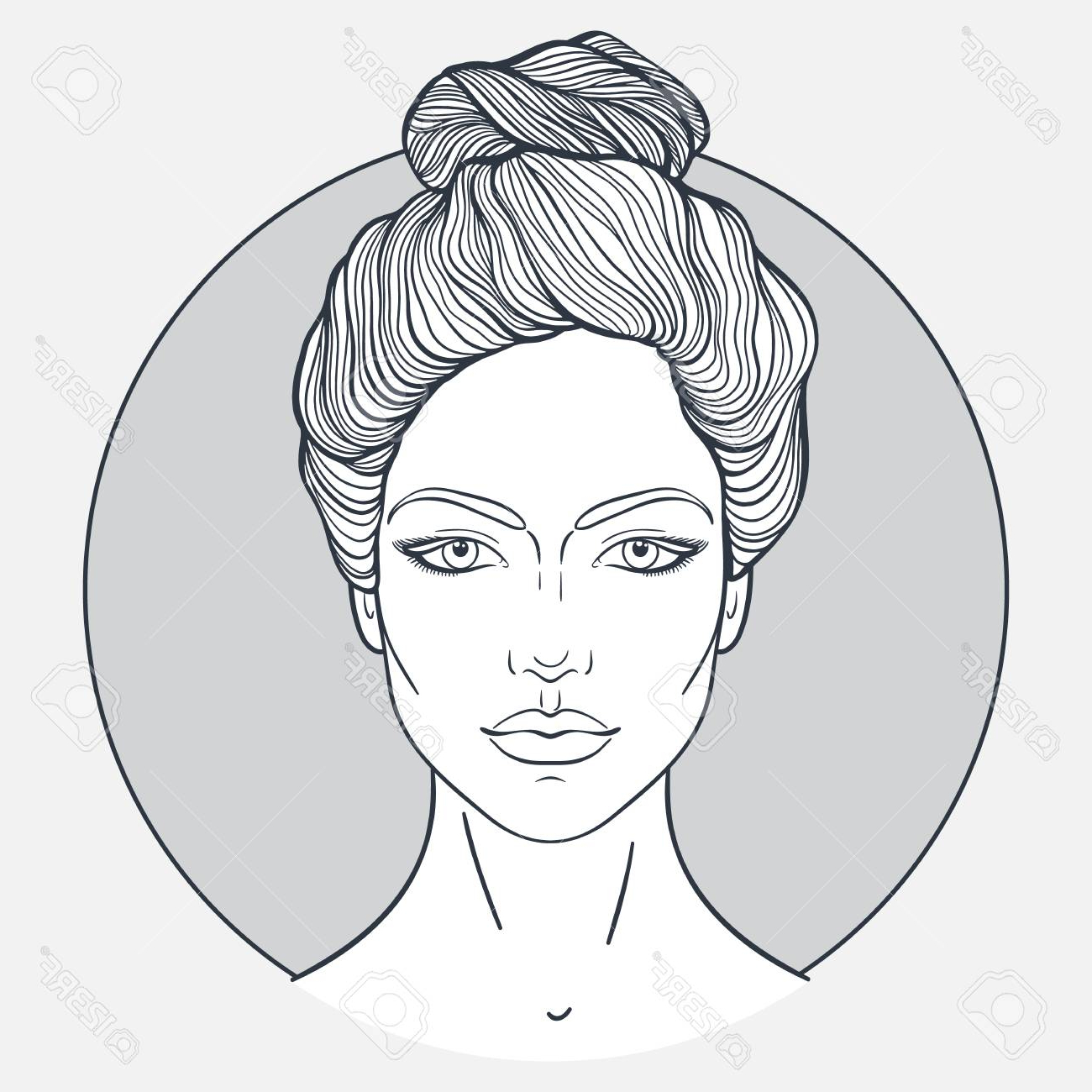 Beautiful Girl Face With Top Knot Hair Style, Make Up And Neutral. (View 12 of 20)