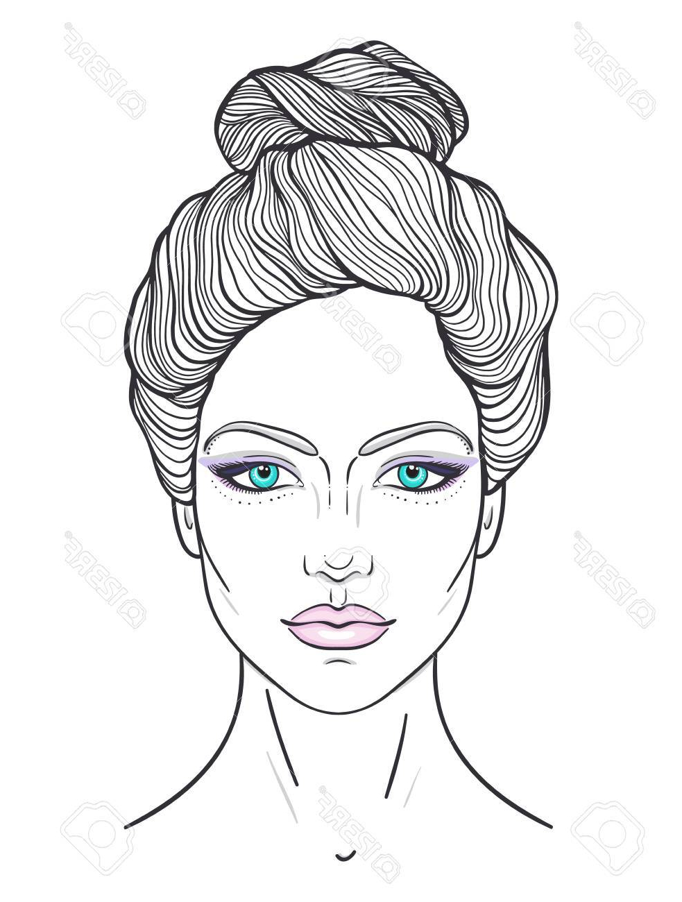 Beautiful Girl Face With Top Knot Hair Style, Make Up And Neutral. (View 10 of 20)