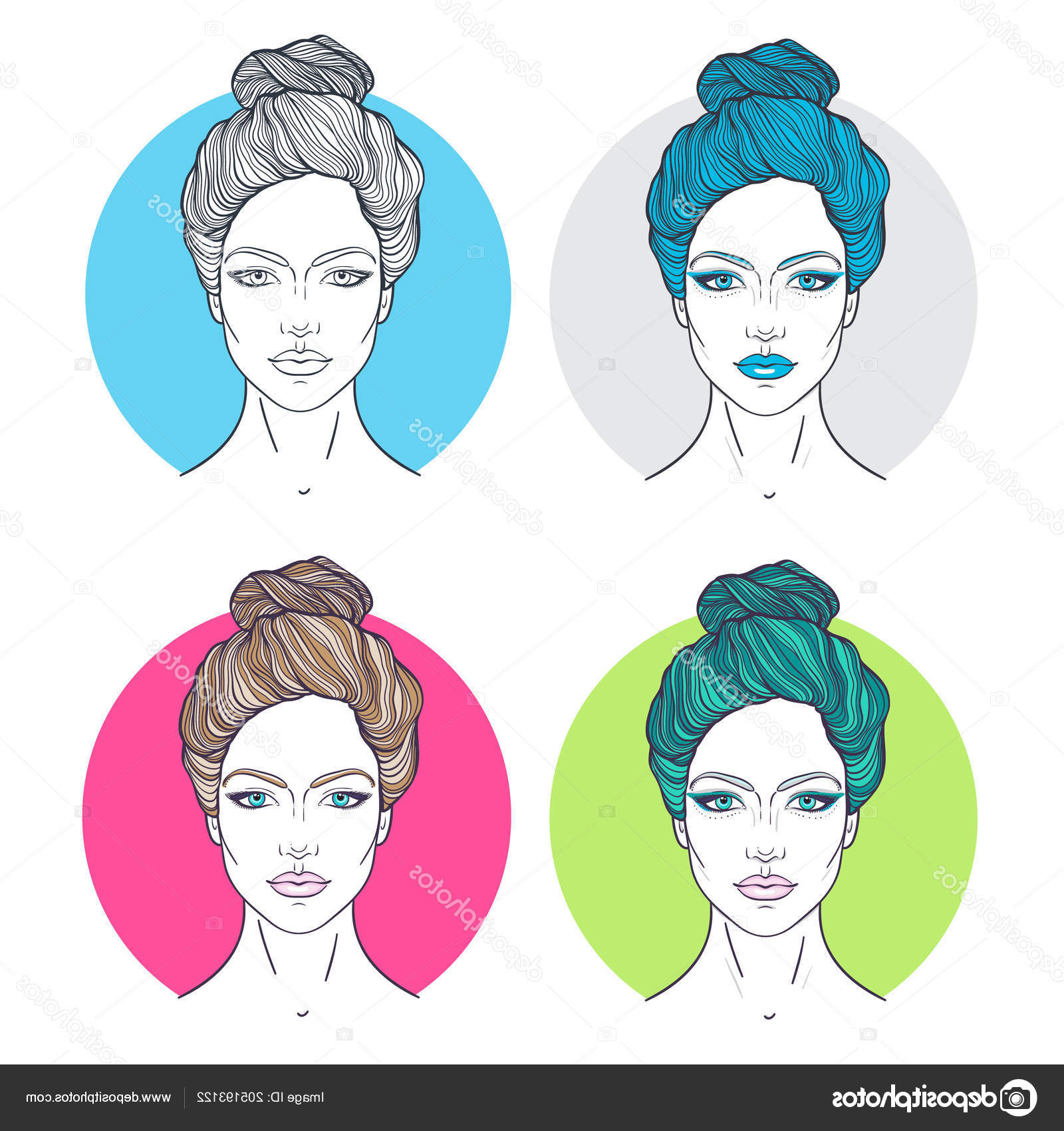 Beautiful Girls Faces Top Knot Hair Style Make Neutral With Regard To Preferred Decorative Topknot Hairstyles (View 9 of 20)