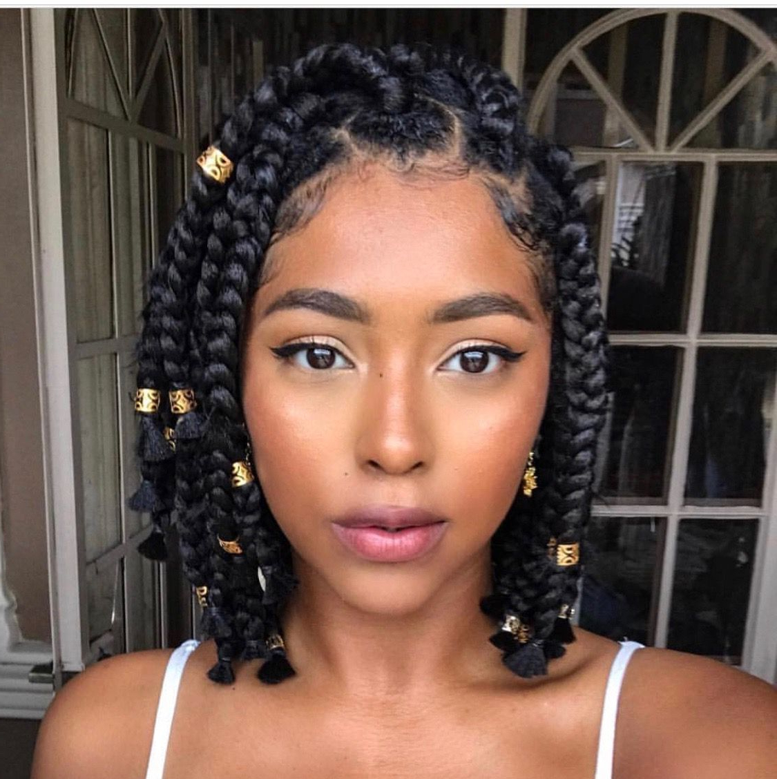 Best And Newest Beaded Bangs Braided Hairstyles Within These 16 Short Fulani Braids With Beads Are Giving Us Life (View 7 of 20)