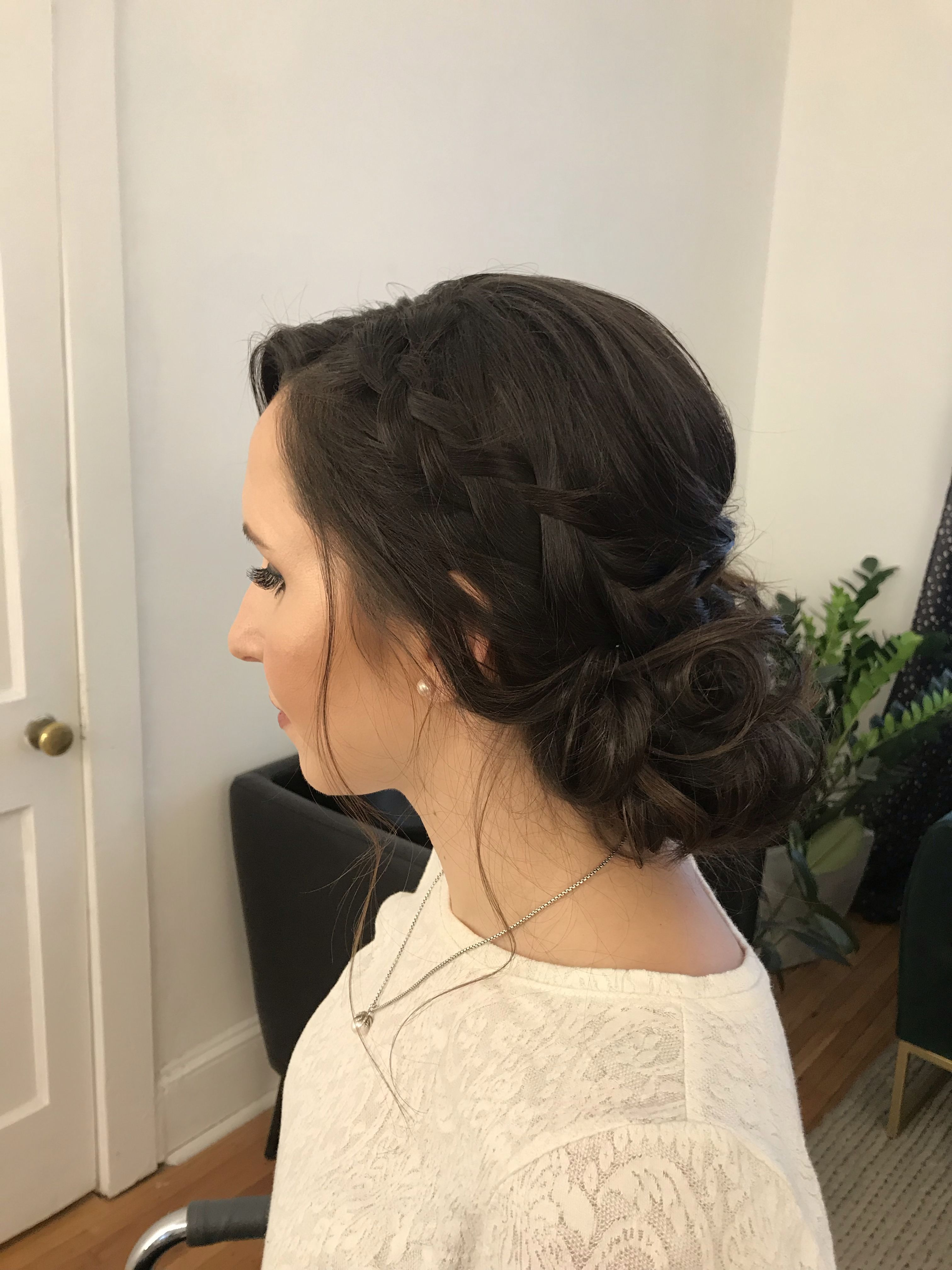 Best And Newest Brown Woven Updo Braid Hairstyles For Brown Hair Braided Updo, Formal Updo With Braid, Modern Updo (View 6 of 20)