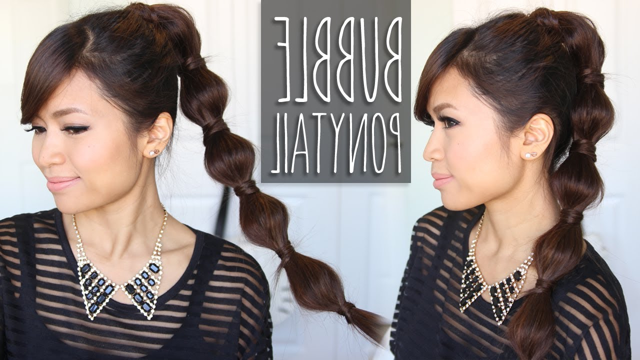 Best And Newest Bubble Pony Updo Hairstyles Inside Bubble Ponytail Hairstyle (View 6 of 20)