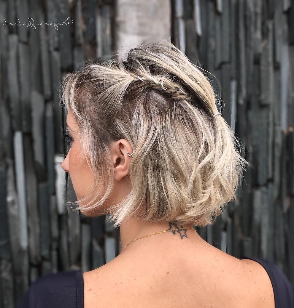 Featured Photo of Rolled Half Updo Bob Braid Hairstyles