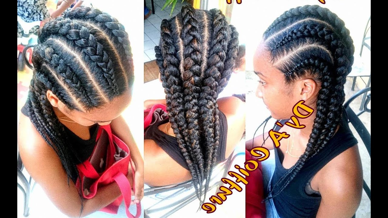 Best And Newest Thick Cornrows Braided Hairstyles In How To ★ 6 Straight Back Feed In Cornrows From Different Angles  Dy'a (View 8 of 20)