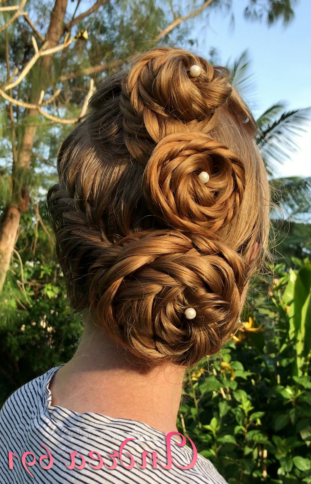 Best And Newest Triple Under Braid Hairstyles With A Bun Pertaining To Braids & Hairstyles For Super Long Hair: Triple Fishtail (View 17 of 20)