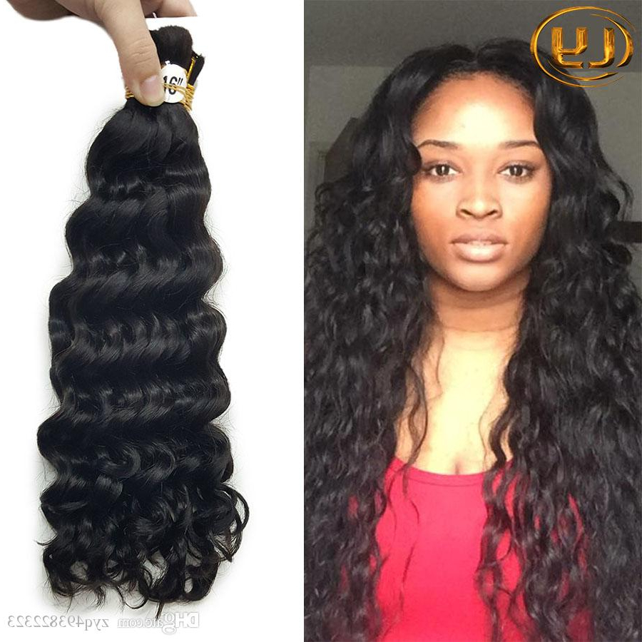 Best And Newest Wet And Wavy Micro Braid Hairstyles Within Top Quality Brazilian Hair 50G Human Hair Braids Bulk Deep Wave No Weft Wet And Wavy Deep Curly Micro Mini Braiding Bulk Hair (View 2 of 20)