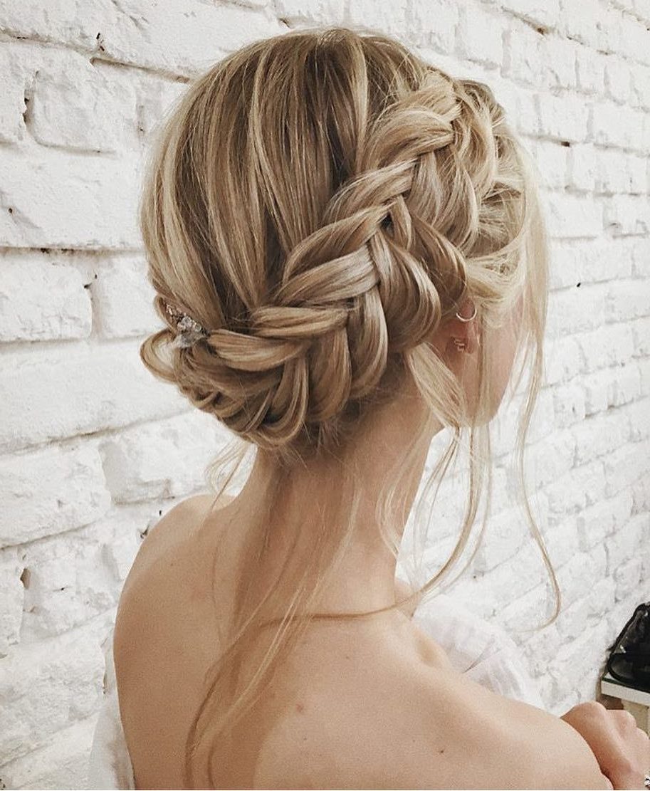 Blondes Pertaining To Recent Messy Crown Braid Updo Hairstyles (View 17 of 20)