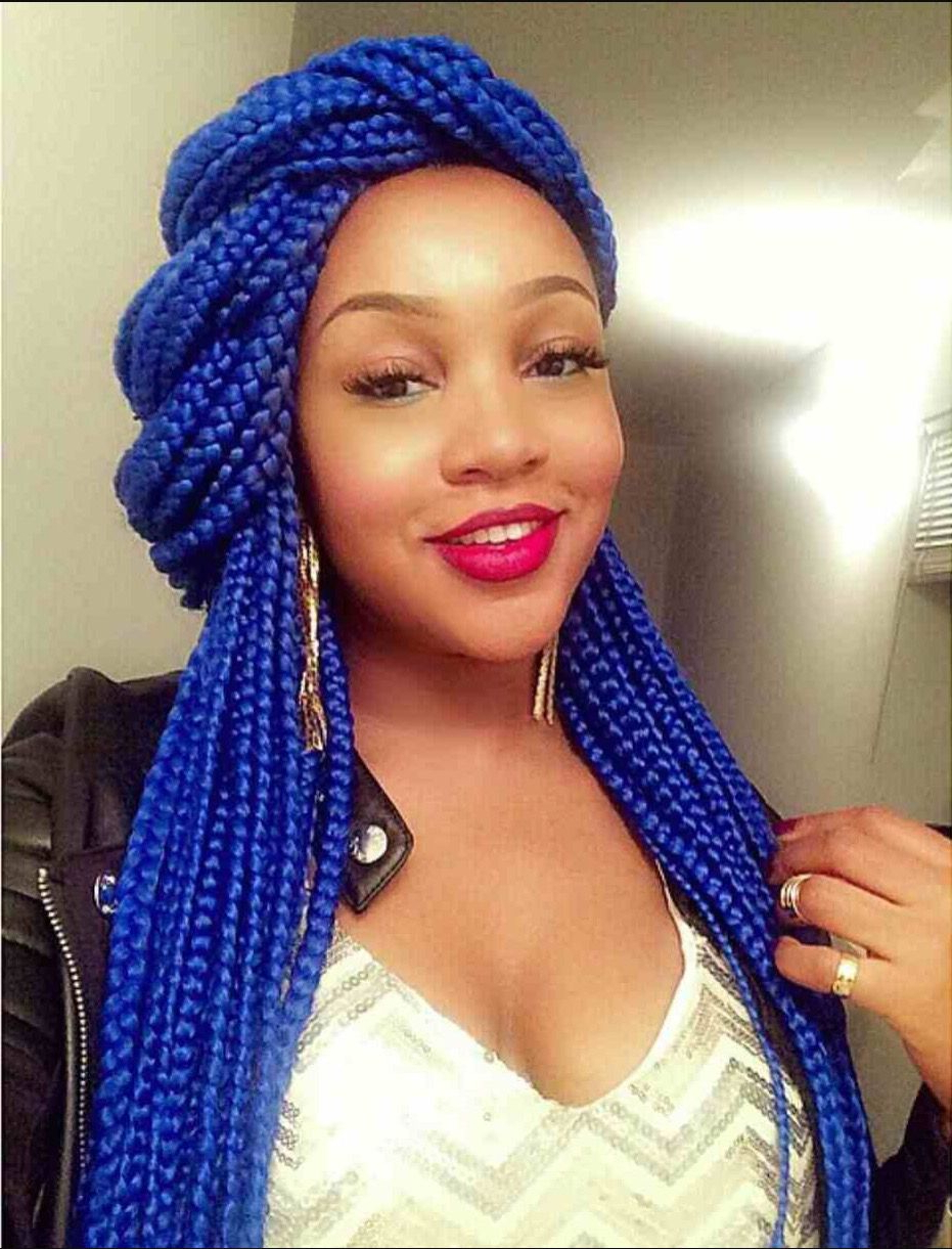 Blue Box Braids Throughout Fashionable Pastel Colored Updo Hairstyles With Rope Twist (View 7 of 20)