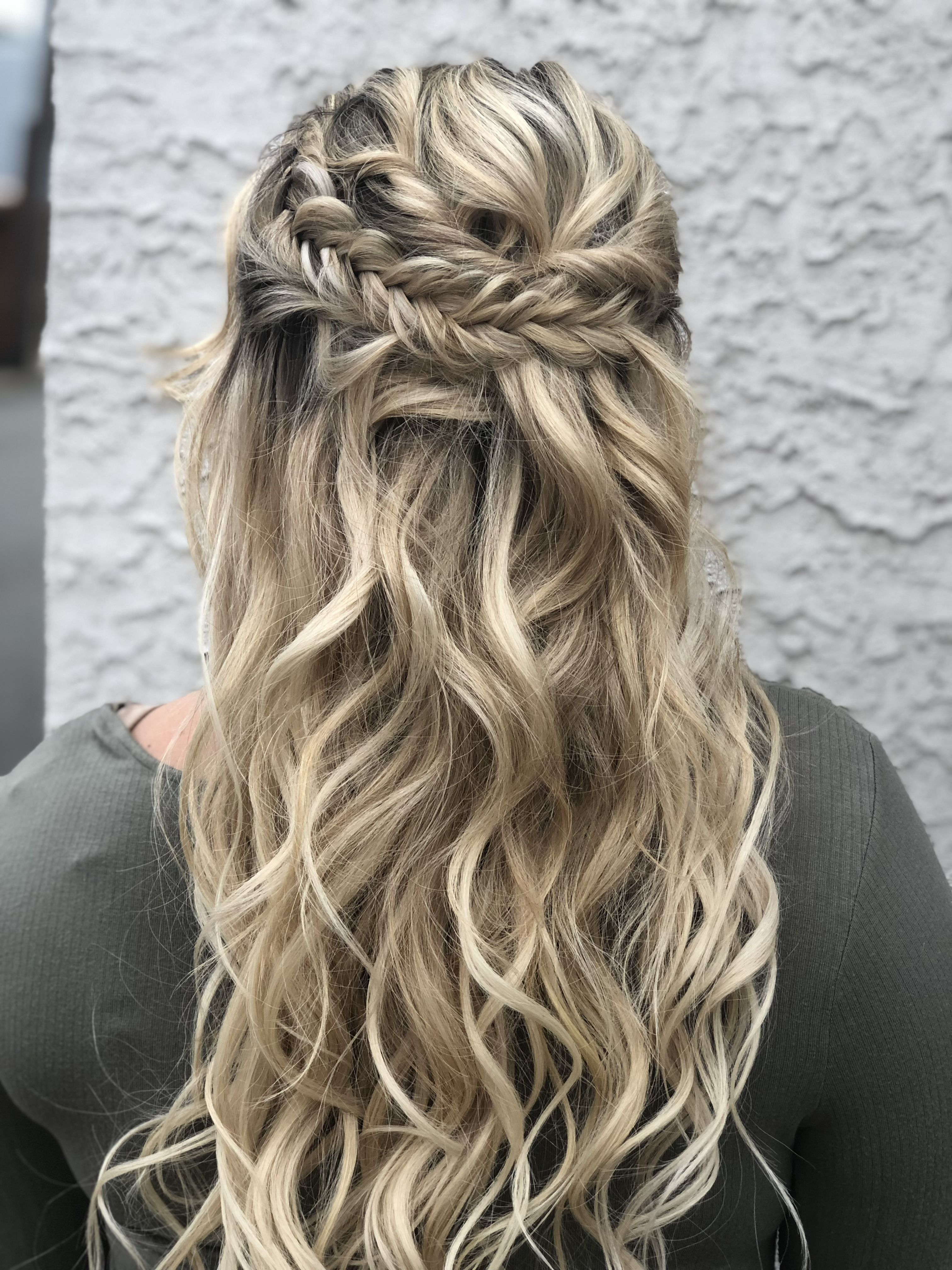 Boho Bridal Hairstyle Half Up Half Down Fishtail Braids With Regard To Newest Elegant Blonde Mermaid Braid Hairstyles (View 7 of 20)