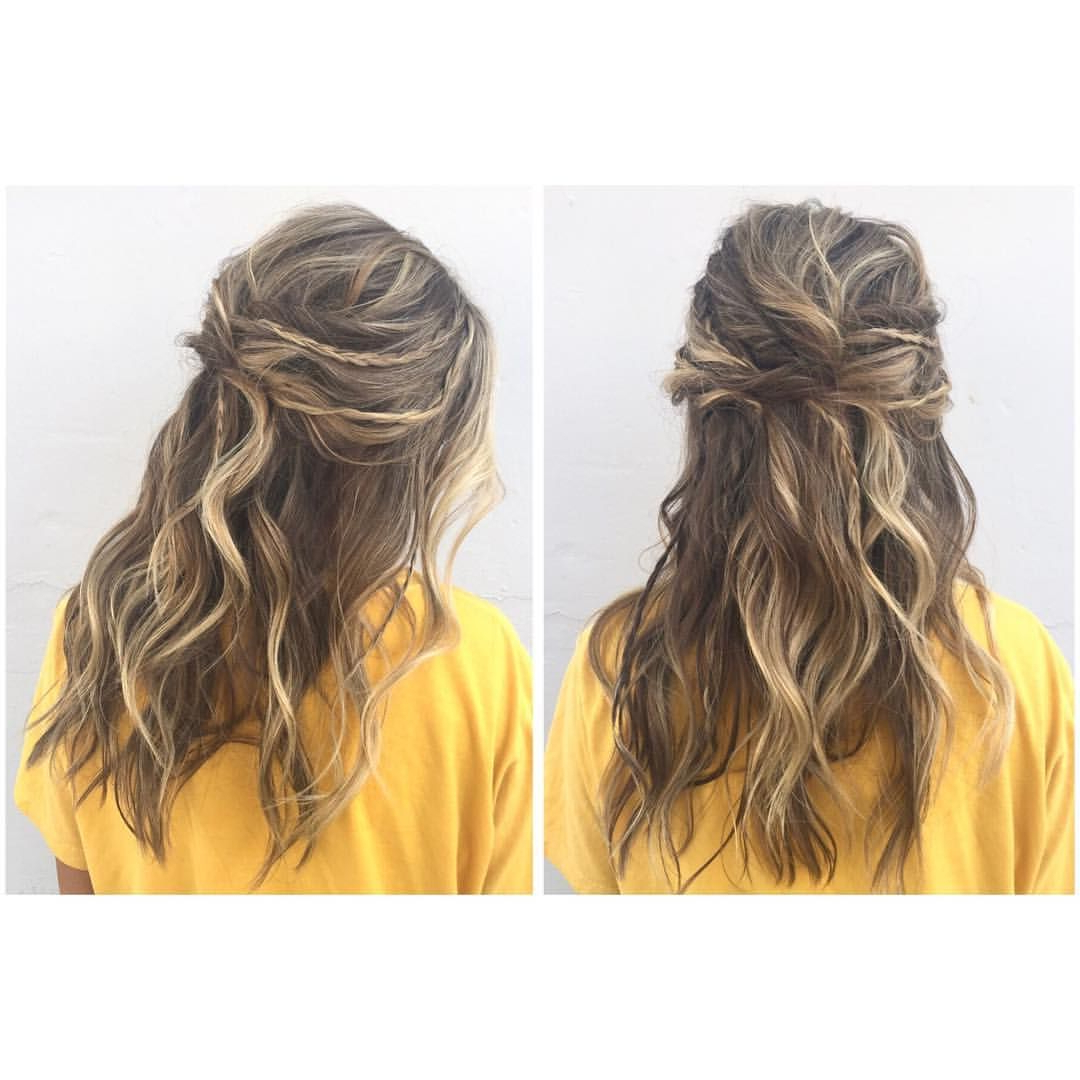 Boho Hair Prom Updo With Braids And Twists And Messy Waves Intended For Trendy Boho Half Braid Hairstyles (View 2 of 20)