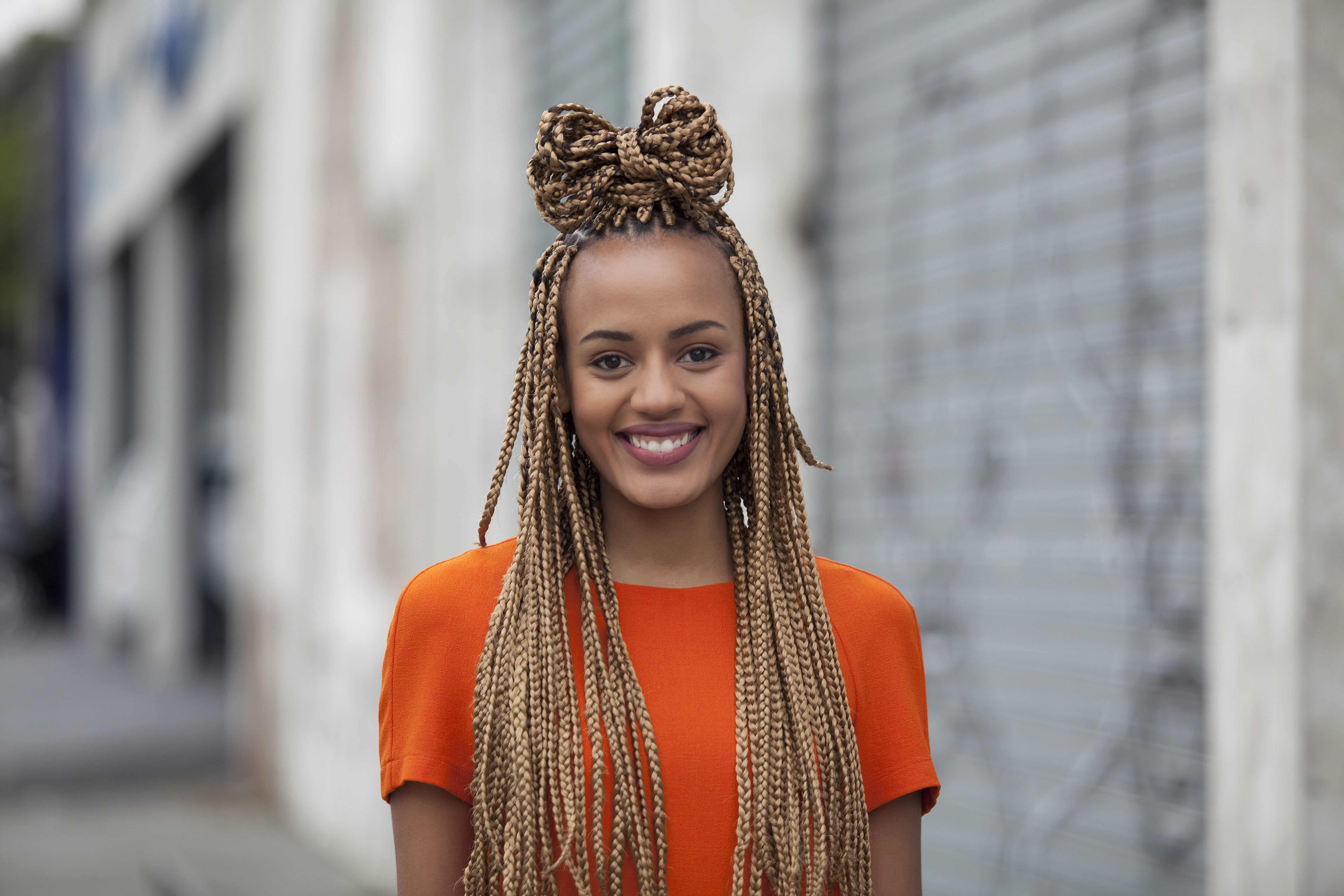 Box Braids: 13 Pretty Hairstyles To Inspire Your Next Look Within Well Liked Box Braids Bun Hairstyles (View 5 of 20)