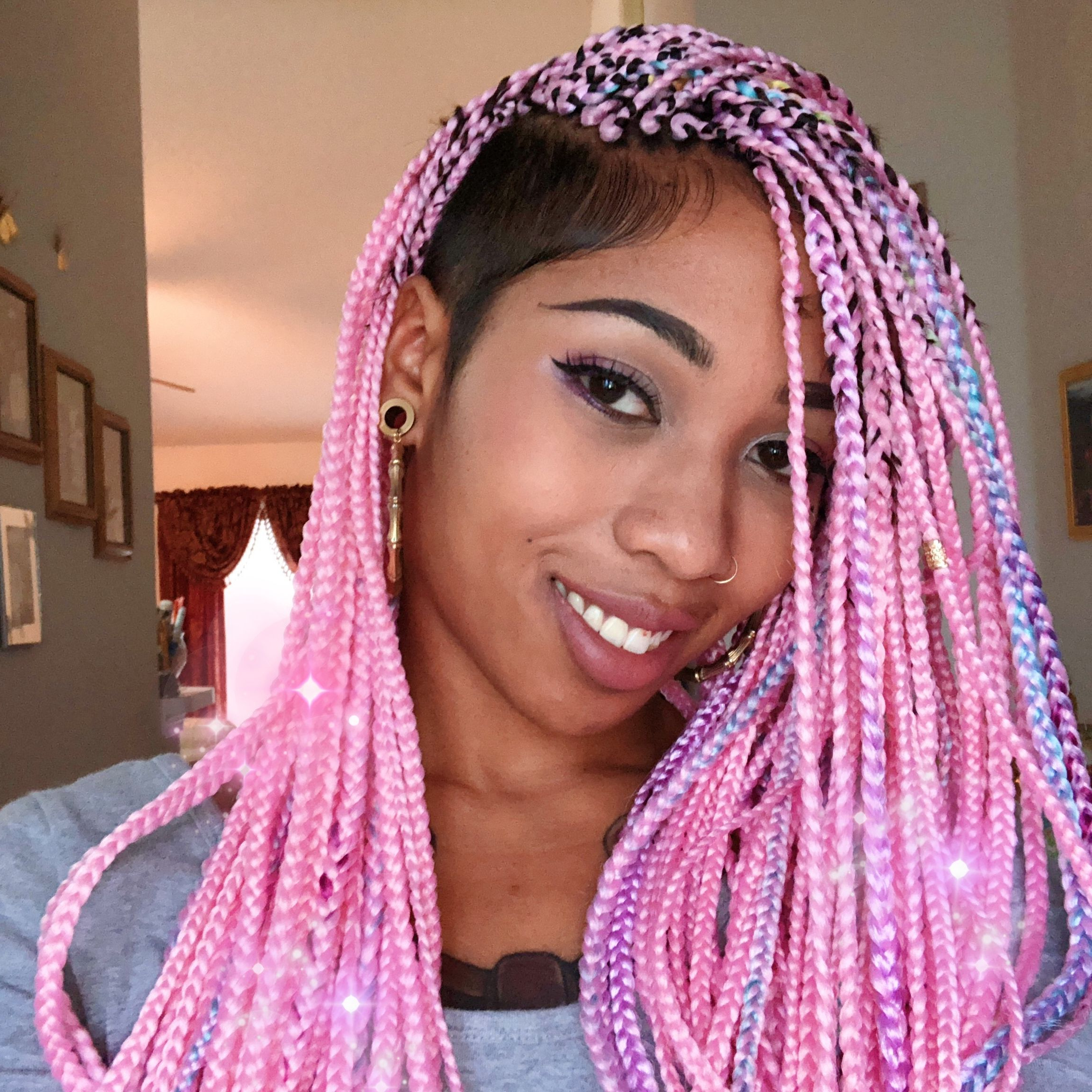 Box Braids, Box Braids In Recent Long Braids With Blue And Pink Yarn (View 6 of 20)