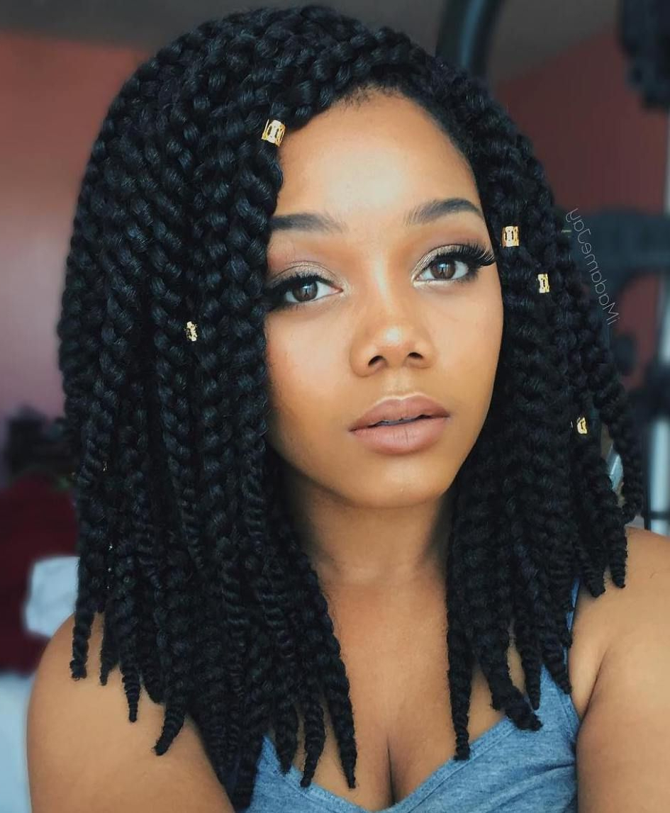 Box Braids Lob With Beads 😘😘 Follow Me @guiltymaintenance With Regard To Fashionable Twisted Lob Braided Hairstyles (View 2 of 20)